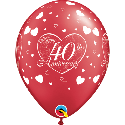 Ruby Anniversary Hearts 6pk with Helium
