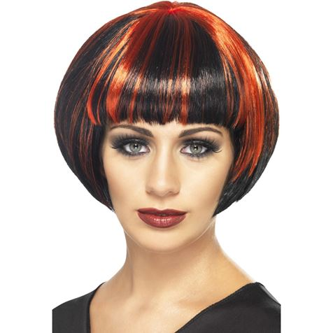 Quirky Red and Black Bob Wig