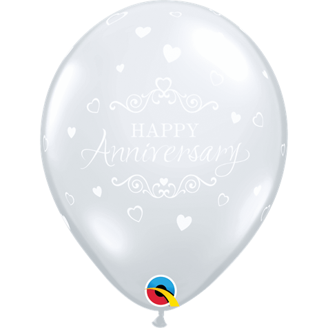 Happy Anniversary Hearts Clear 6pk with Helium