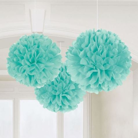 3 Fluffy Decorations Turqouise