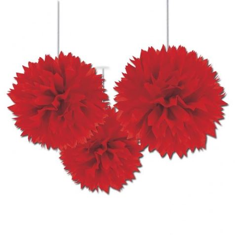 3 Fluffy Decorations Red