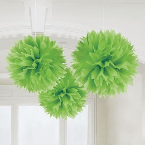 3 Fluffy Decorations Green