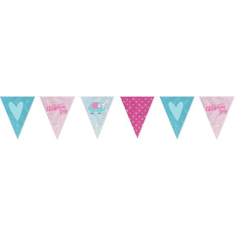 Pink Christening Day Pennant Banner