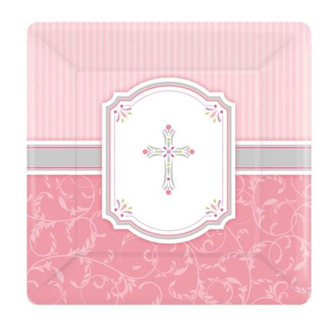 Religious Square Plates Pink