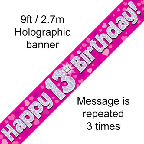 Happy 13th Birthday Banner Pink