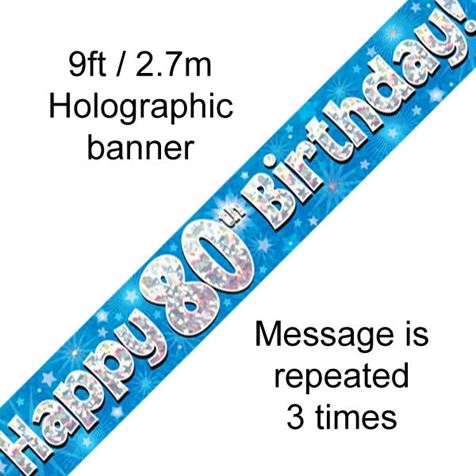Happy 80th Birthday Banner Blue