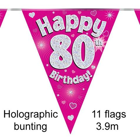Happy 80th Birthday Bunting Pink