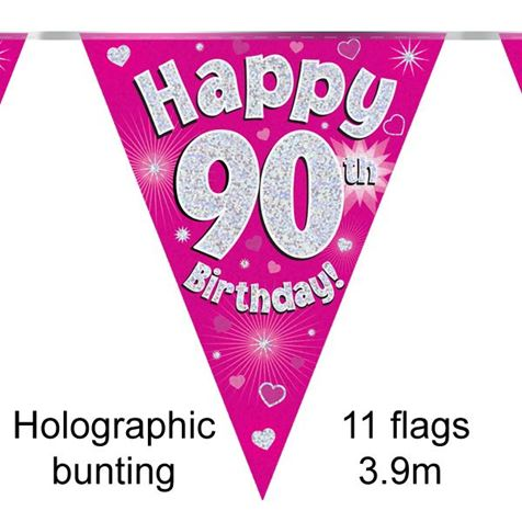 Happy 90th Birthday Bunting Pink