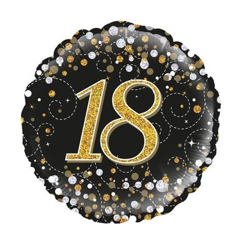 18th Birthday Sparkling Black & Gold Foil Balloon