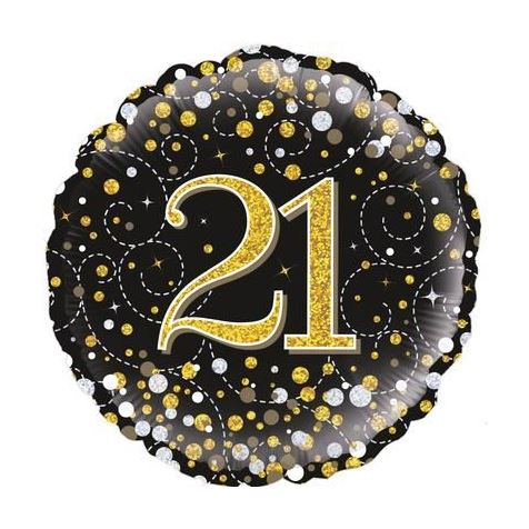 21st Birthday Sparkling Black & Gold Foil Balloon
