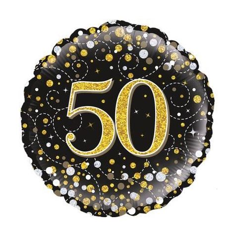 50th Birthday Sparkling Black & Gold Foil Balloon