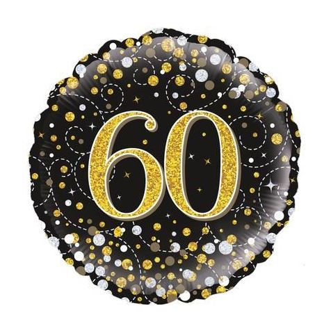 Age 60 Black and Gold Birthday Foil