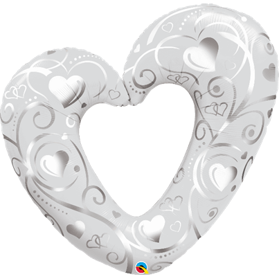 Qualatex Hearts and Filigree Pearl White