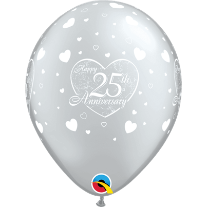 Qualatex Silver Anniversary Hearts 6pk with Helium