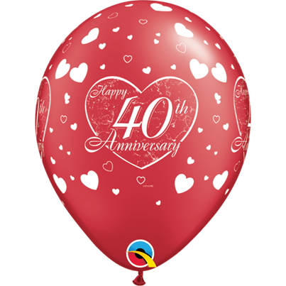 Qualatex Ruby Anniversary Hearts 6pk with Helium