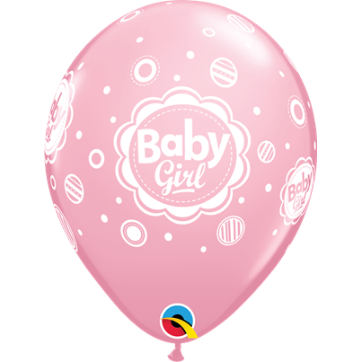 Baby Girl Dots Pink 6pk with Helium