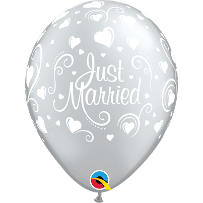 Qualatex Just Married Hearts Silver 6pk with Helium