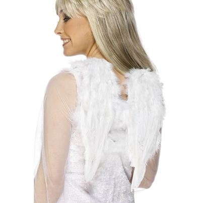 Short White Feather Angel Wings