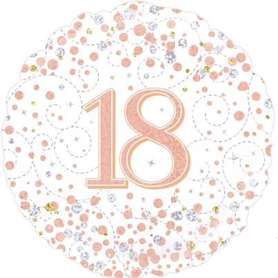 Oaktree Age 18 Rose Gold Birthday Foil