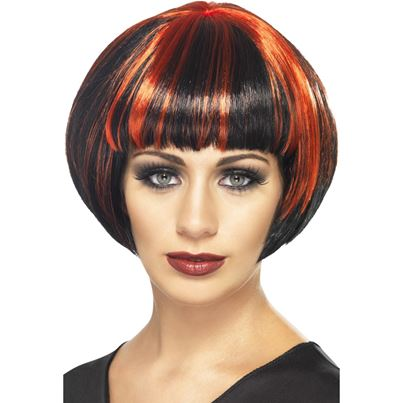 Smiffys Quirky Red and Black Bob Wig
