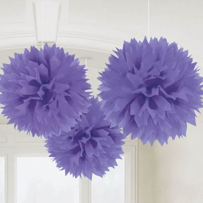 Amscan 3 Fluffy Decorations Purple
