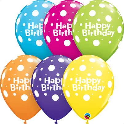 Qualatex Happy Birthday Polka Dots Tropical 6pk with Helium