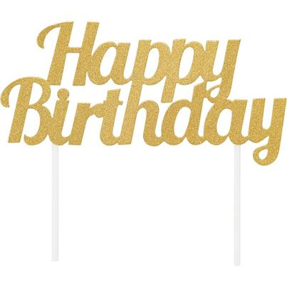 Creative Party Happy Birthday Cake Topper Gold