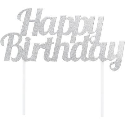 Creative Party Happy Birthday Cake Topper Silver