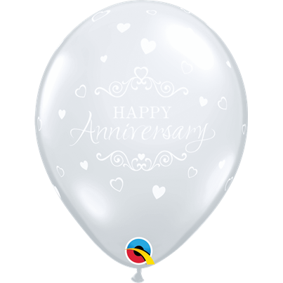 Qualatex Happy Anniversary Hearts Clear 6pk with Helium