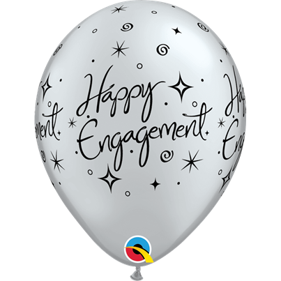 Qualatex Happy Engagement Silver 6pk with Helium