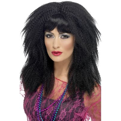 Black 80's Trademark Crimp Wig
