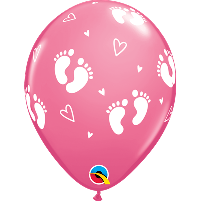 Baby Girl Footprints Pink 6pk with Helium