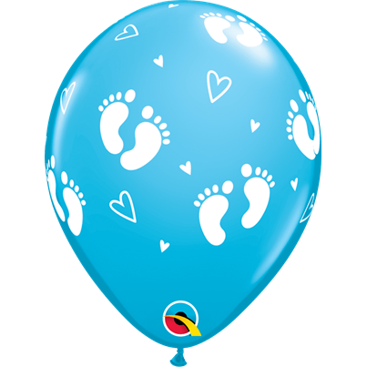 Baby Boy Footprints Blue 6pk with Helium