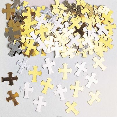 Cross Silver and Gold Confetti
