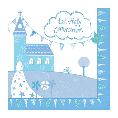 Holy Communion Blue Napkins 16pk