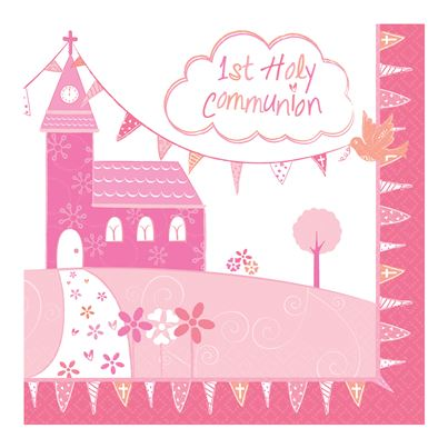 Holy Communion Pink Napkins 16pk