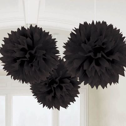 Amscan 3 Fluffy Decorations Black