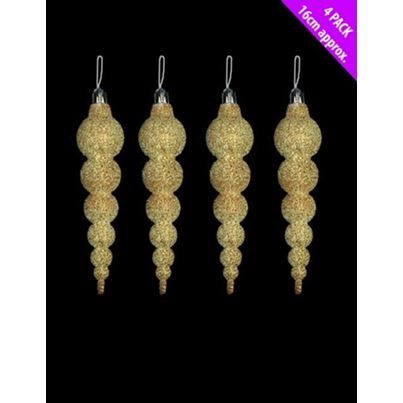 Davies Gold Icicle Baubles