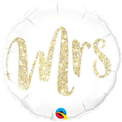 Qualatex 'Mrs' Gold Foil Balloon