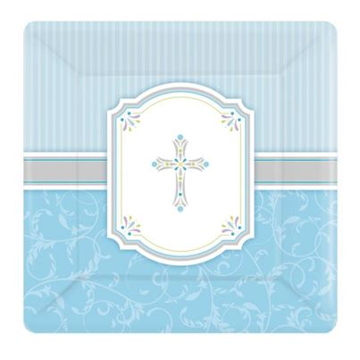 Amscan Religious Square Plates Blue