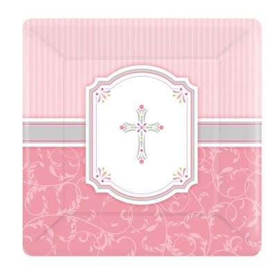 Amscan Religious Square Plates Pink