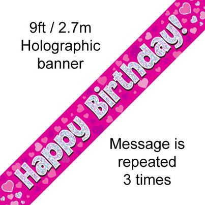 Happy Birthday Banner Pink