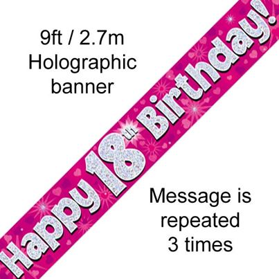 Oaktree Happy 18th Birthday Banner Pink