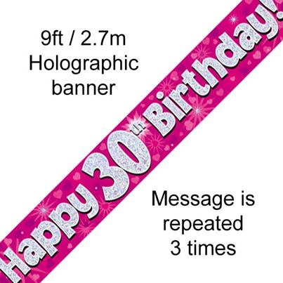 Oaktree Happy 30th Birthday Banner Pink