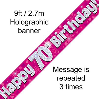 Happy 70th Birthday Banner Pink