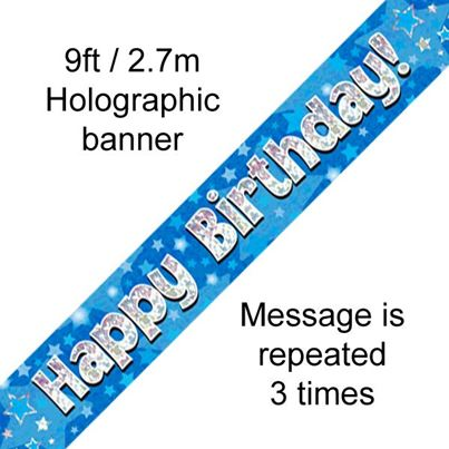 Oaktree Happy Birthday Banner Blue