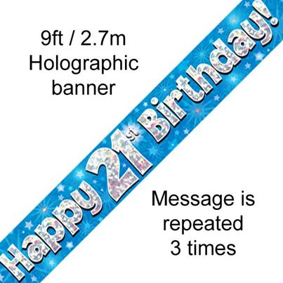 Oaktree Happy 21st Birthday Banner Blue
