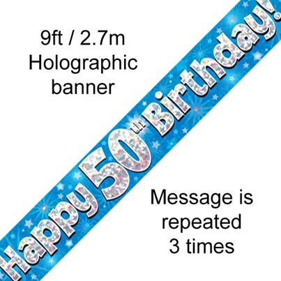 Oaktree Happy 50th Birthday Banner Blue