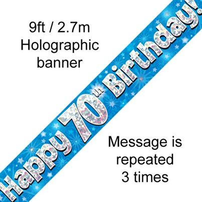 Happy 70th Birthday Banner Blue