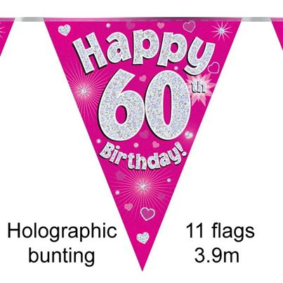 Happy 60th Birthday Bunting Pink